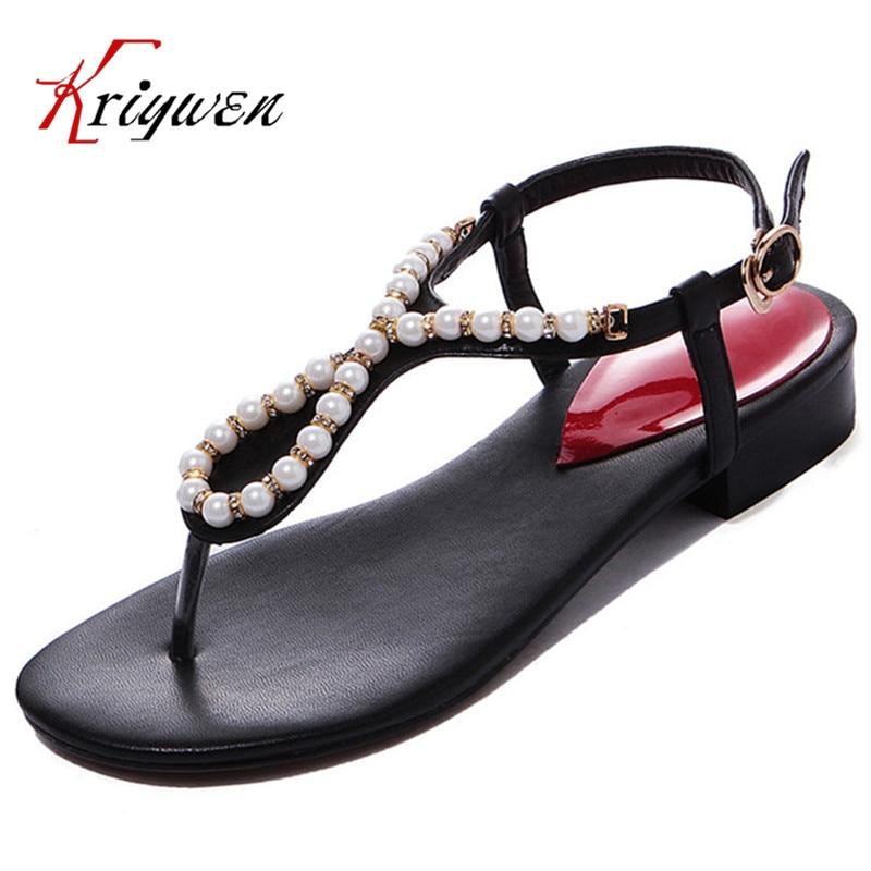 Big size 33-42 Woman Sandals & Flip Flops fashion ladies sandals comfortable shoes woman's beading decortion T-strap solid shoes