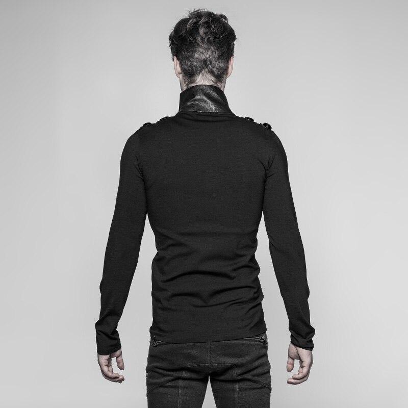 PUNK RAVE Neue Punk Rock Persönlichkeit Uniform Männer Lange Ärmeln T Shirt Gothic Steampunk Motorrad Casual Straße Coole Tops - 2