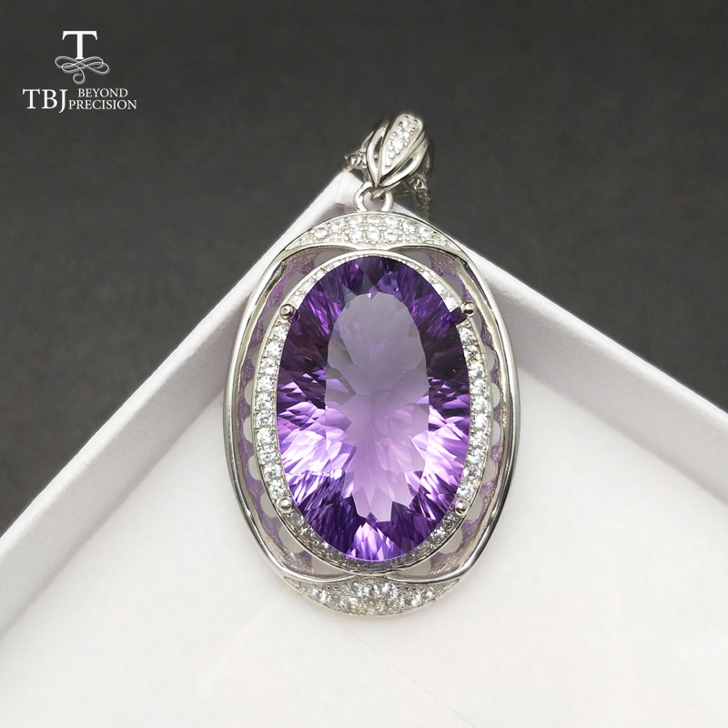 TBJ,Big shiny Gemstone pendant with natural amethyst concave cut in 925 sterling silver fine jewelry for women as birthday gift