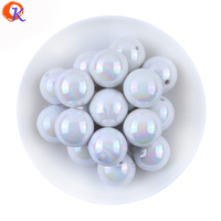 Fashion Jewelry 20MM 100Pcs Lot AB Shiny White Solid Acrylic Chunky Bubblegum Bead For DIY Handmade