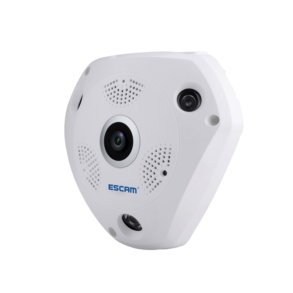 ESCAM QP180 360degree Panoramic Fisheyes Camera with VR BOX Function Two way Audio Day Night CCTV IP Camera Wifi