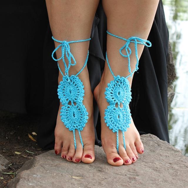 Moda Bohemia crochet Barefoot Sandalias, patrón calado zapatos ...