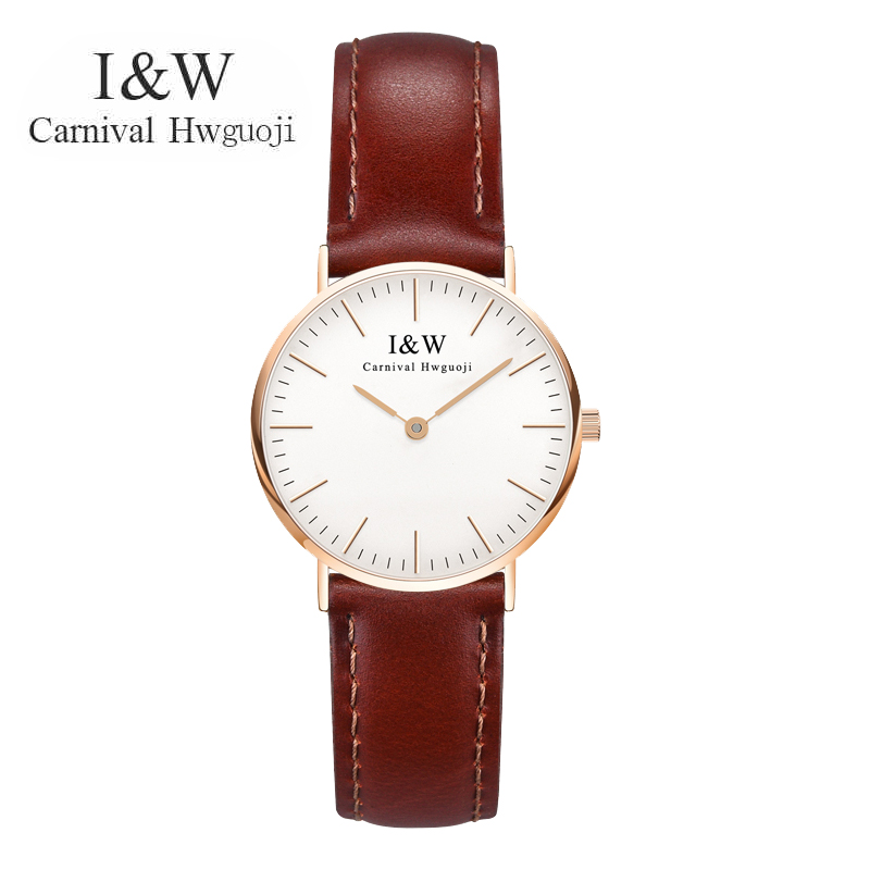 New CARNIVAL Top Brand Women Quartz Watches Brown Leather Strap Rose Gold Case Classic Casual Fashion Classic Wristwatches 8758L brown strap thin case branded design watches no name japan quartz machine