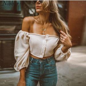 Image 1 - Nibber kadın moda seksi Slash boyun üst T shirt sonbahar yeni zarif beyaz kırpma üst parti düz renk yumuşak elastik ince giyim