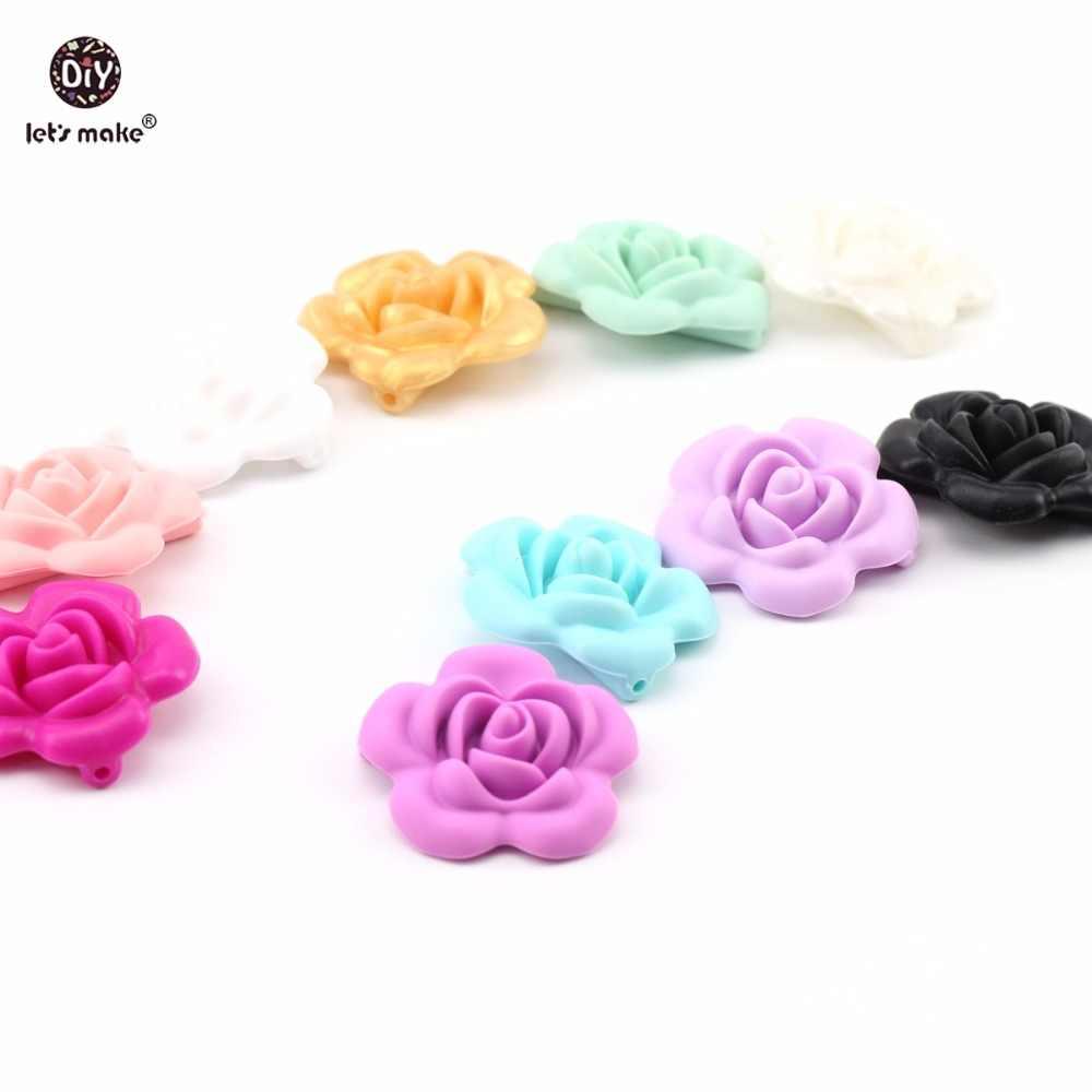 Hagamos silicona de grado alimenticio 1pc flor Rosa colgante DIY joyería cuna juguete bebé lactancia pulsera collar de lactancia color