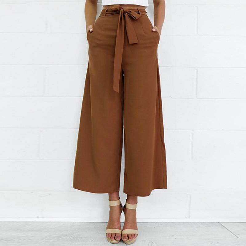 2017 Fashion Women Pants Wide Leg Pants with Belt Ankle-Length Trousers Women Capri Loose Casual Pants S-XL Chiffon Brown Black