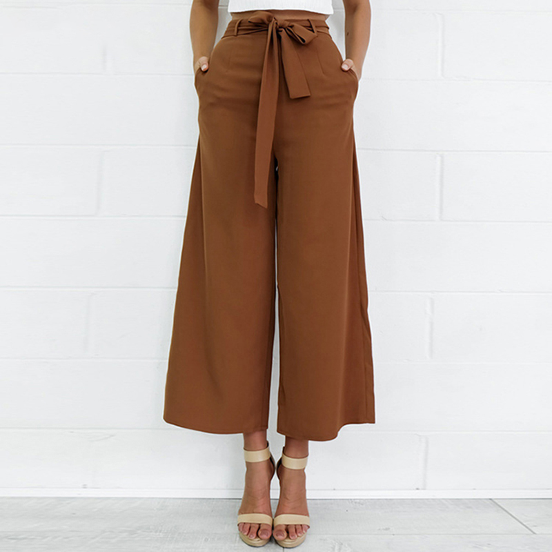 2017 Fashion Women   Pants     Wide     Leg     Pants   with Belt Ankle-Length Trousers Women Capri Loose Casual   Pants   S-XL Chiffon Brown Black