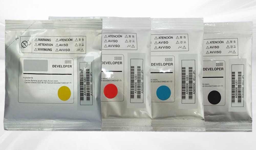 Nuevo color desarrollador compatible para konica minolta Bizhub C200 C210 C203 253 de 353 de polvo de hierro consumibles de la impresora KCMY 4 g/lote