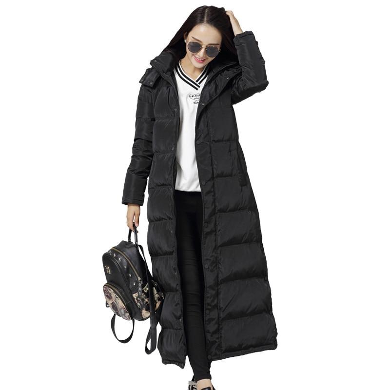 Women's Down Cotton Jacket X-Long Black   Parkas   Chaqueta Mujer Hooded Warm Women Cotton Jacket Female Thicken Coat   Parka   C4574