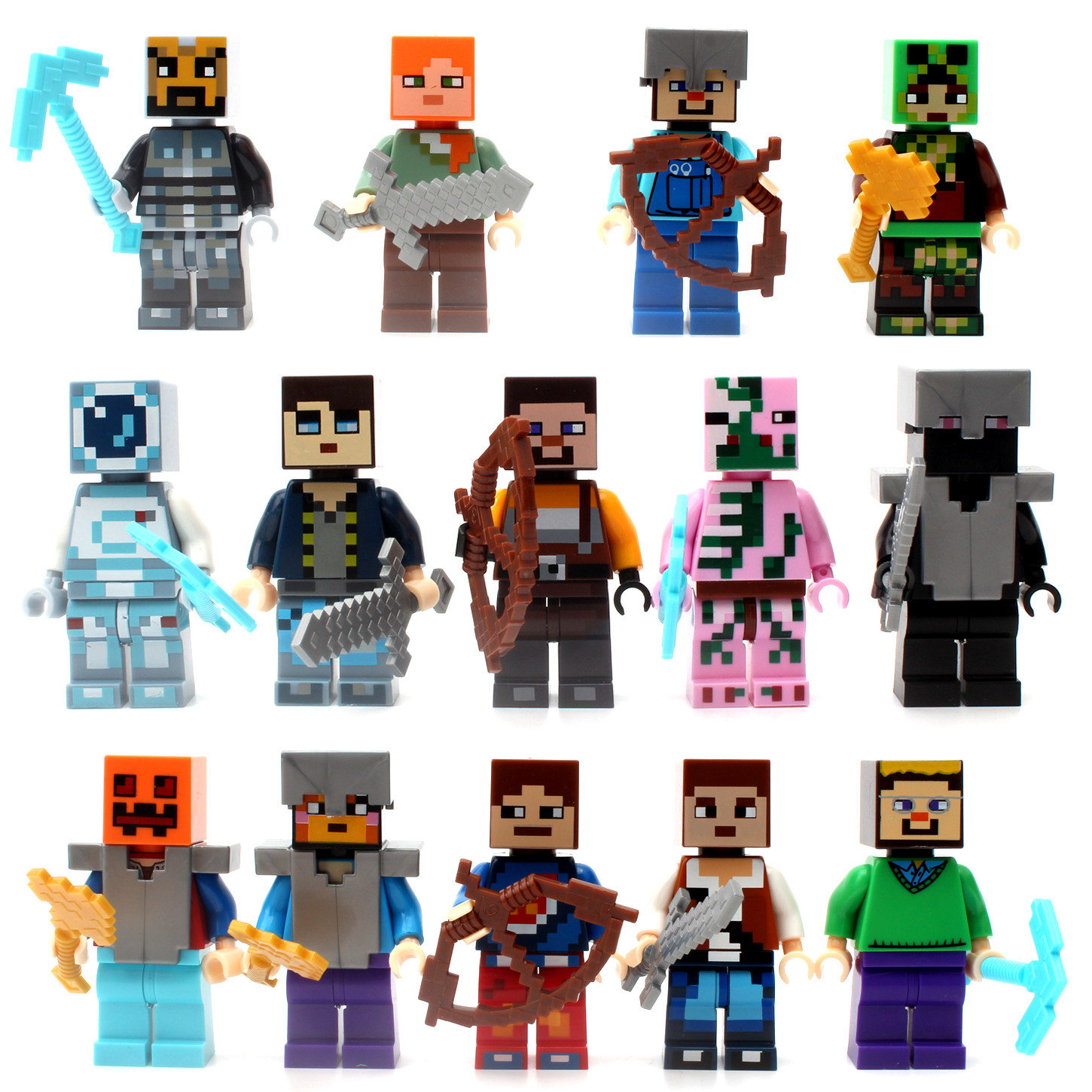 Single Sale Minecrafted Style Zombie Steve figure DIY Building Blocks Toys Compatible Legoings Model