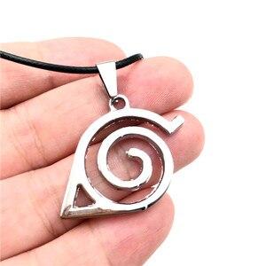 Image 2 - En gros 10 pcs/lot Anime bijoux Naruto Konoha Logo pendentif collier avec chaîne de corde pour hommes cadeaux
