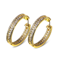 30MM Fashion Hoop Earring Latest Design Earrings For Women Gold Plated With White CZ Wedding Earring