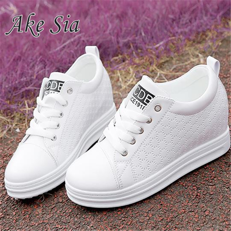 Shoes woman height increasing white shoes Cross straps Muffled with platform sneakers solid rubber female shoes f206-1