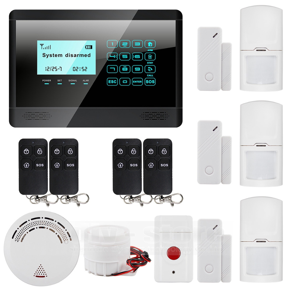 DIYSECUR 433 MHz Sensor Wireless GSM SMS TEXT Home House Alarm System LCD Screen House Intruder Voice 850/900/1800/1900MHz wireless gsm sms text touch keypad home house alarm system emergency panic 850 900 1800 1900mhz outdoor siren fire smoke sensor
