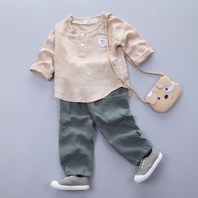 Infantis Childrens spring autumn summer cotton Boys tops tees long sleeve t shirt +bind pants 2pc/set ,kids Clothes 0-5Year