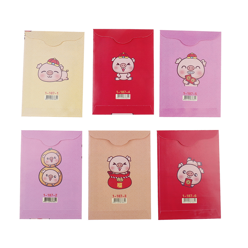 Mail & Shipping Supplies Paper Envelopes Just Multi Style 6pcs/pack 2019 Cartoon Chinese Pig Red Envelope Children New Year Red Pocket Regular Tea Drinking Improves Your Health
