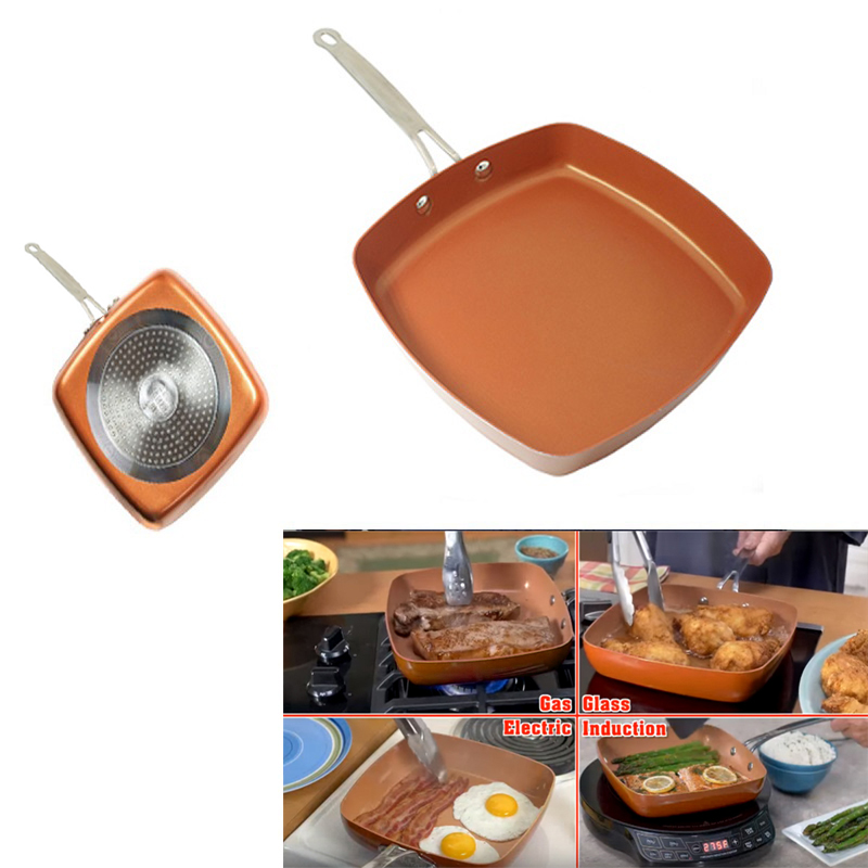 Non Stick Copper Square Frying Pan With Ceramic Frying Red