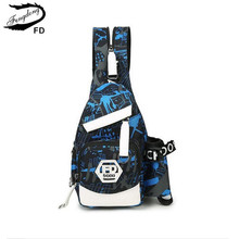 FengDong blue waterproof oxford fabric male small chest bag men travel bags boy mini shopping bag pack cross body bags for boys