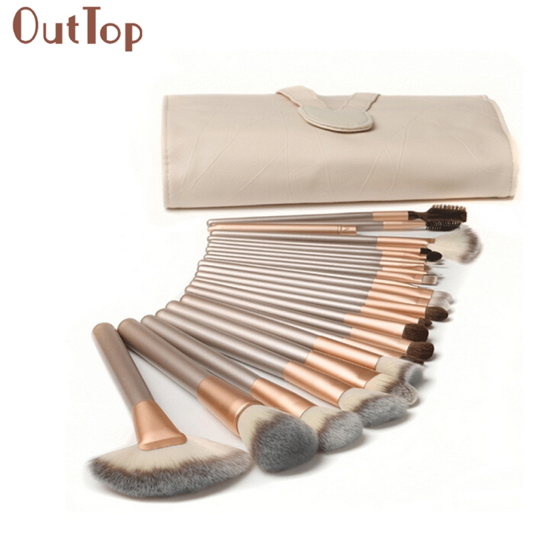 OutTop Best Deal New Women 24PCS Pro Makeup Brushes Set Cosmetic Complete Eye Foundation Blusher Kit Gift Beauty Tools outtop best deal new good quality pink colour sponge puff 24 pcs cosmetic makeup brushes foundation brushes tool 1 set
