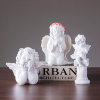 White Angel Character Sculpture Resin Decoration Modern Home Decor Crafts figurine Desktop people statue Holiday Gift