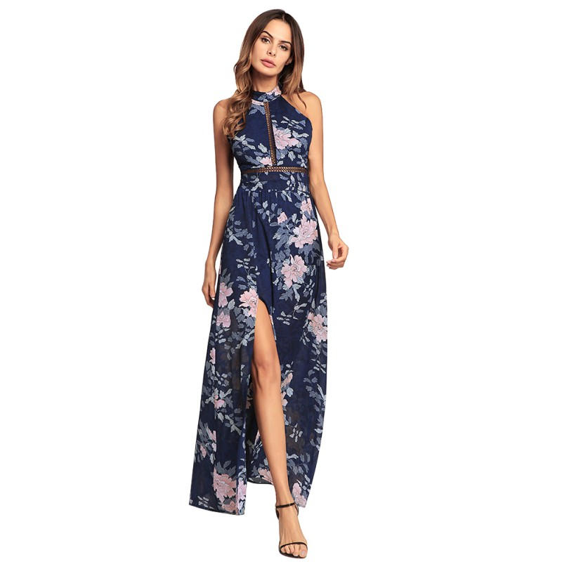 Sexy Backless Halter Long Dress Split Hem Sleeveless Print Floral Chiffon Summer Dress Hollow Back Black Pink Beach Vestidos