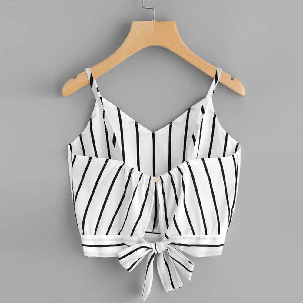 Women's Tank Tops Self Tie Back V Neck Striped 2019 Female Slip Crop Cami Top Camisole Cropped Tumblr