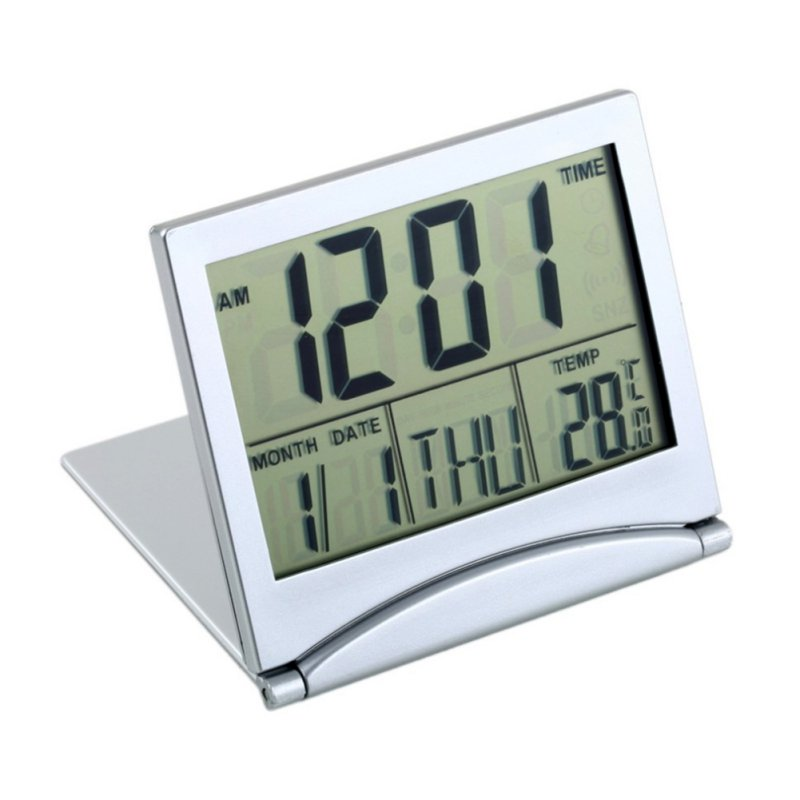 1pcs Digital LCD Thermometer Timer Calendar Date Snooze Alarm Folding Slim Desk Clock New