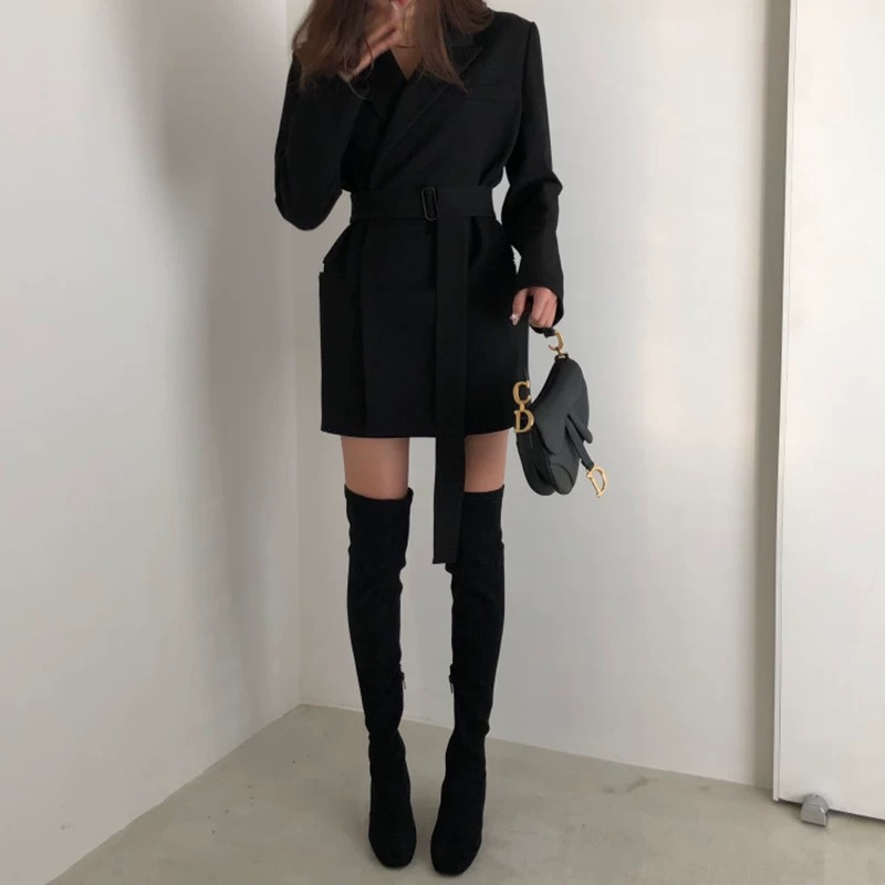 2019 Travail D'affaires khaki Costume Femmes Veste Nouvelle Black Casual Ceinture Manteau Slim Office Blazer Lady afnXqnE