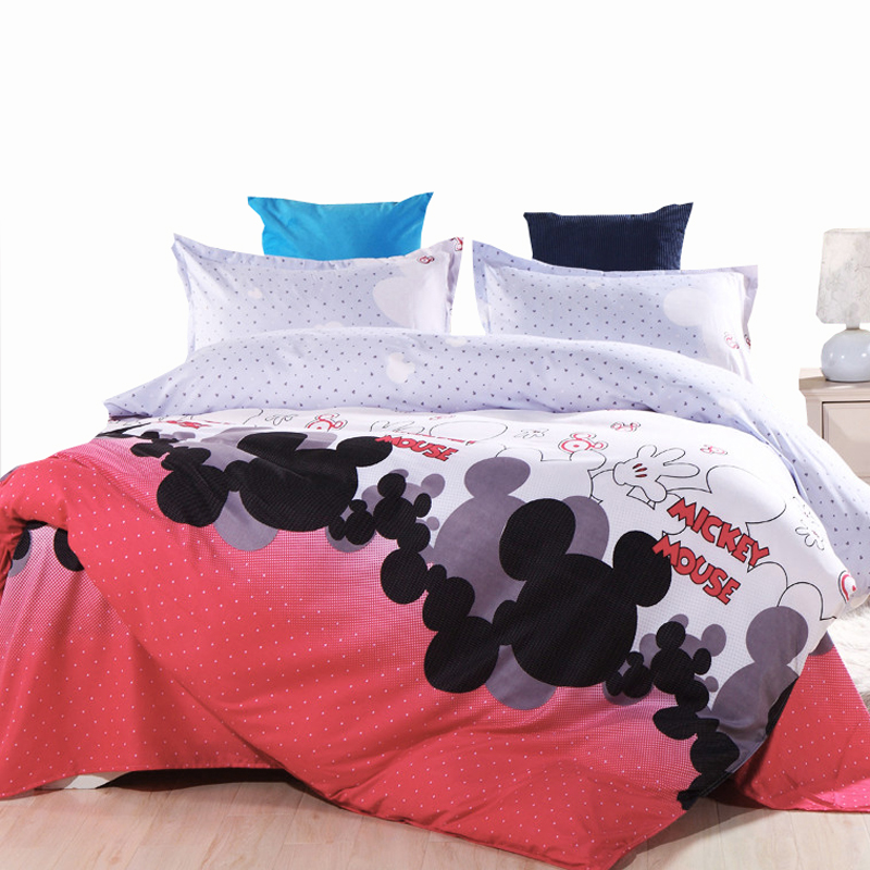 USA Europe Russian Kids Bedding Set Mickey Mouse Single <font><b>Size</b></font> Duvet Cover Set Queen King Quilt Cover <font><b>Bed</b></font> Set Bedclothes 2017 New