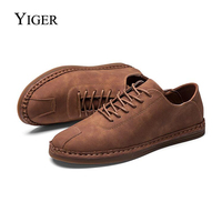 YIGER NEW Spring Casual Men shoes handmade suede men's loafers shoes men's low tide shoes Oxford soft bottom bean shoes men 0045