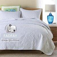 FADFAY Cotton Blanket Bed Set Luxury White And Beige Bedding Set 3 Piece Oversized Bedspread Quilt