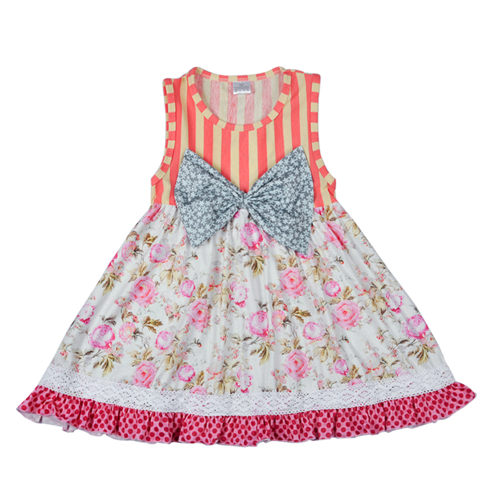 HTB1lAizogDD8KJjy0Fdq6AjvXXao - New Arrival Girls 2 Pcs Summer Clothing Floral Bow Dress Stripes Icing Cotton Ruffle Pants Remake Children Outfits 2GK712-052