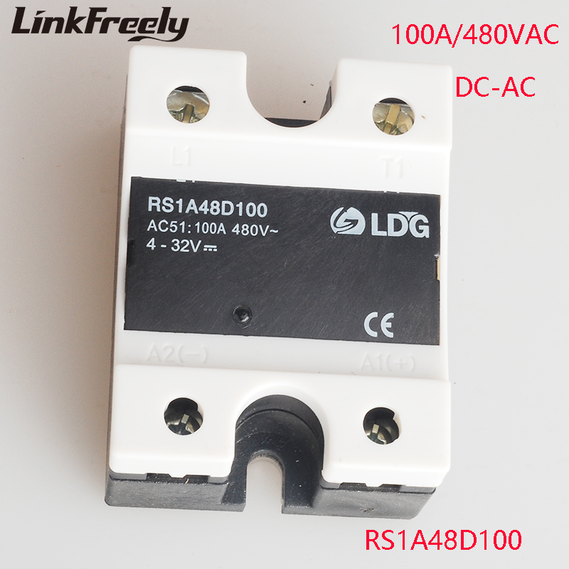 RS1A48D100 PLC 100A 230V Solid State Relay Mini SSR Relay Output 42-530V AC Input 4-32V DC Voltage Control Relay Switch Module new fx1s 20mr 4ad2da module board clock modbus 24vdc analog input output relay output for plc