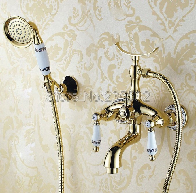 Learned Luxury Golden Brass Porcelain Base Wall Mounted Bathroom Tub Shower Faucet Set Dual Handle Mixer Tap Handheld Shower Ltf407 Volume Large Home Improvement Bathroom Fixtures