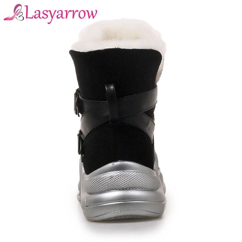 Piel Resbalón Nieve Mujer Botines Plataforma Invierno Negro Botas En Lasyarrow Zapatos Punk Caliente Casuales Hebilla 7Xxqp7C