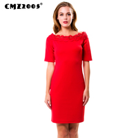 Hot Sale New Women Vintage Fashion Autumn Solid Knee Length O Neck Dresses With Half Sleeve