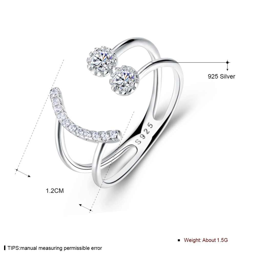 ปรับขนาดได้ 925 แหวนเงินแท้ Cubic Zirconia SMILE Face ออกแบบแหวน S925 เงินเครื่องประดับ (Lam HUB Fong)