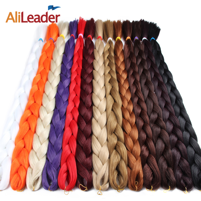 "AliLeader 165G 82"" Braiding Hair Extensions Jumbo Synthetic Hair Braid Twist 20 Pure Colors Pink Brown Blue White Box braiding"