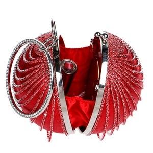 Image 3 - Sekusa円形タッセルラインストーンの女性のイブニングバッグとハンドルのダイヤモンド金属ハンドバッグ結婚式/パーティー/ディナーイブニングバッグ