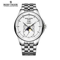 Recife Tigre/RT Relógios Em Aço Inoxidável Relógios para Homens Fase Da Lua Do Vintage Grande Relógio de Data Automática RGA1928