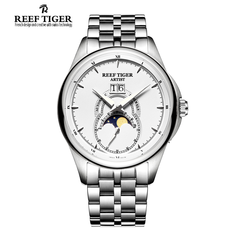 Reef Tiger RT Vintage Watches for Men Moon Phase Stainless Steel Watches Big Date Automatic Watch