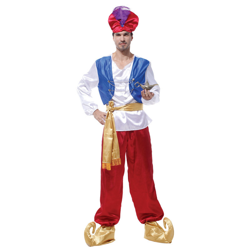 Halloween Saoudite Roi Robe Costume Cos Mâle Adulte Aladdin Prince Lanterne Cosplay Costume Pour Homme Femmes