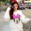 Sudaderas ratón de dibujos animados Tops Carácter moda Camiseta blanca nudo del arco dulce flojo Mickey Minnie camisetas lindo