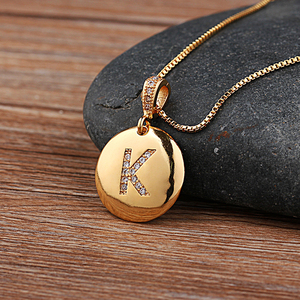 Top Quality Women Girls Initial Letter Necklace Gold 26 Letters Charm Necklaces Pendants Copper CZ Jewelry Personalized Necklace(China)