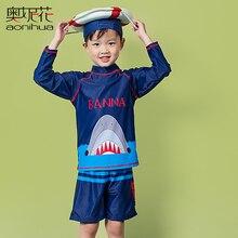 AONIHUA 2-12 years 2017 3D Sea Shark Print Two Piece Swimsuit Boys kids Long sleeve swimwear Designer Children baby bathing suit