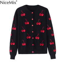 NiceMix Spring Autumn Cardigan Women Sweater Casual Cherry Embroidery Cardigans Short Coats Knitted Pull Femme