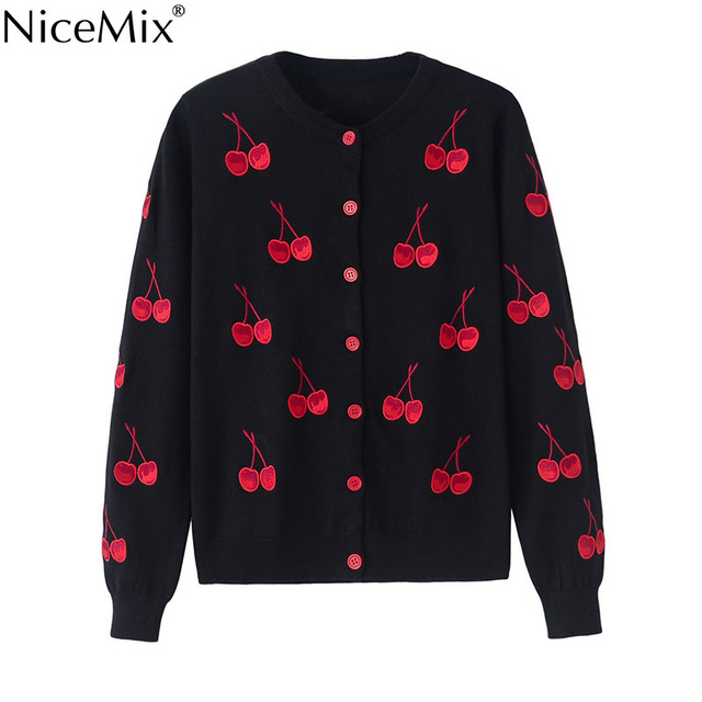 NiceMix Spring Autumn Cardigan Women Sweater Casual Cherry Embroidery Cardigans Short Coats Knitted Sweater Women Pull Femme
