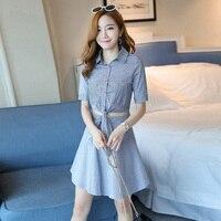 2018 New Women Dresslt Striped Small Black Off Two S Dresses Pink Blue 3695