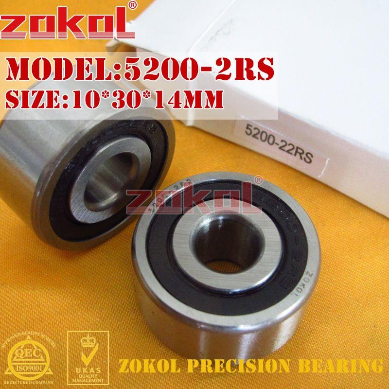 ZOKOL bearing 5200 2RS 3200 2RZ (3056200) Axial Angular Contact Ball Bearing 10*30*14mm zokol bearing 5317 2rs 3317 2rz 3056317 axial angular contact ball bearing 85 180 73mm