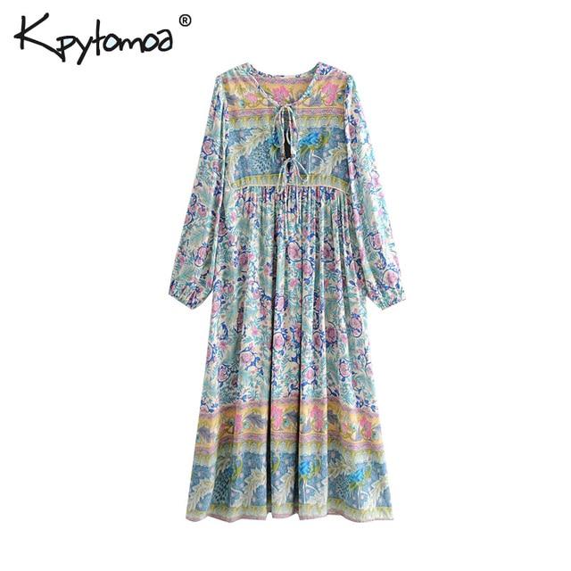 a8e6eb7f8a18 Boho Chic Summer Vintage Floral Print Pleated Midi Dress Women 2018 Fashion  O Neck Long Sleeve Beach Dresses Femme Vestidos